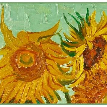 Sunflower Detail by Vincent Van Gogh Counted Cross Stitch or Counted Needlepoint Pattern