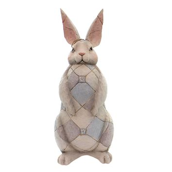 Jim Shore GREY BUNNY GARDEN STATUE Polyresin Rabbit Proud 6001601