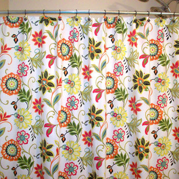 Shower Curtain/   Custom Bath / Avery Garden/ orange, green, yellow, gold, black