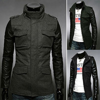 Leather Sleeve Slim Fit Men Fashion Wool Coat