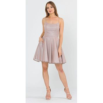 Rose Gold Shimmering Homecoming Short Dress with Pockets