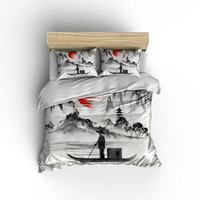 Asian Fisherman Duvet cover,Asian decor,Japanese bedding,bed and bath,Asian culture bedding,Asian Culture,Asian Fisherman Bedding,Sunsets.