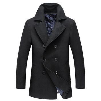 BFSBOYS 2017 New Fashion Brand-Clothing Jacket Men Wool Coat Double-breasted Pea Coats Men Long Wool & Blends Winter Coat Men