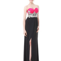 MultiColor Embroidered Split Strapless Maxi Dress