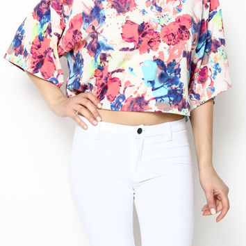Floral Print Dolman Sleeve Crop Top