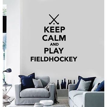 Vinyl Wall Decal Quote Keep Calm Play Field Hockey Sports Game Stickers Mural (g2570)