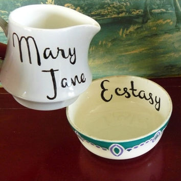 Mary Jane and Ecstasy hand painted vintage bowl and jug set