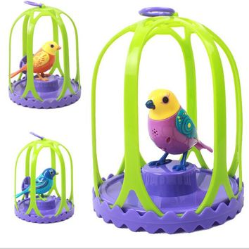 Electric Voice-activated Bird Pets Music Singing Bird Baby Toys with birdcage Christmas Gift For Kids