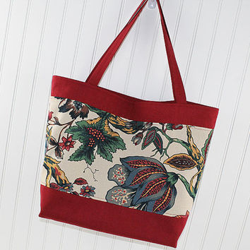 Jacobean Floral Print Large Tote Bag, Farmers Market Bag, Fold Up Grocery Bag, MK132
