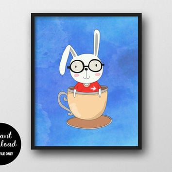 Rabbit Nursery Printable, Nerd Boy in Cup, Animal Kids Print, Baby Boy Wall Decor, Rabbit Woodland Art, Animal Nursery Decor, Kids Wall Art