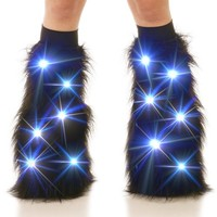Black Light Up LED Fluffies : Solid LED Fluffy Leg Warmers from Indyglo Clubwear