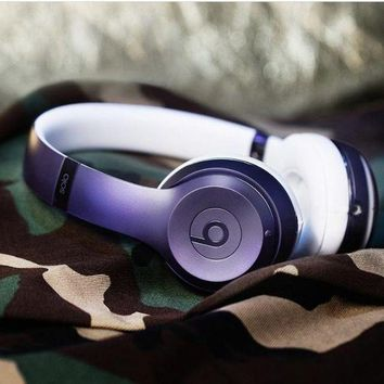 Fashion Unisex Personality Beats Solo 3 Wireless Magic Sound Bluetooth Wireless Hands Headset MP3 Music Headphone with Microphone Line-in Socket TF Card Slot Purple I