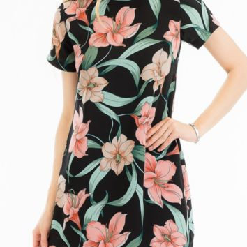 'HIBISCUS FLORAL' SHIFT DRESS