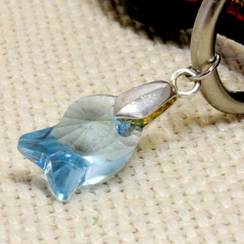 Faceted Crystal Baby Blue Fish Pendant for Dog or Cat.  Transparent Glass Dangle Charm for Puppy or Kitten Collar.  Fun Pet Jewelry in Blue