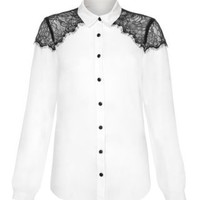 New Look Mobile | Kelly Brook White Contrast Eyelash Lace Shoulder Blouse