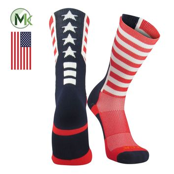 TCK Elite USA Flag Patriot Red White Blue Basketball Football Crew Socks NEW