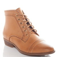 Bamboo Shoes Stepping Into Trouble Pointed Toe Lace Up Ankle Booties - Tan
