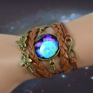 PEAPIX3 sky Blue Mysterious Planet & universe picture glass cabochon charm,bronze color infinity butterfly charm,brown leather bracelet = 1931946820