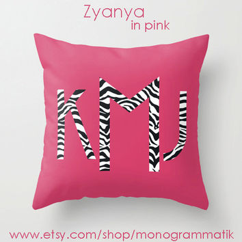 "Monogram Personalized Custom Pillow Cover 16"" x 16"" Couch Art Bedroom Room Fancy Decor Initials Name Hot Pink Teal Black Neon Zebra Stripes"
