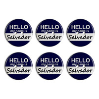 Salvador Hello My Name Is Plastic Resin Button Set of 6