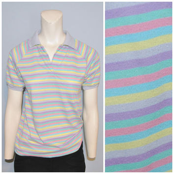Vintage 1980's Dana Point Ltd. Rainbow Striped Polo Shirt Women's Golf Shirt Pastel Pattern Stripe Print Pink Purple Yellow Teal Retro