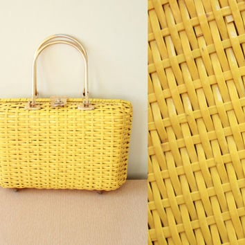 Vintage - 60s - Mod - Bright Yellow - Vinyl - Basket Weave - Brass Metal Handle - Latch - Hand Bag - Purse