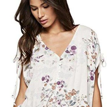 Love Stitch Women's Short Sleeved V-Neck Blouse With Shirred Tie Sleeves