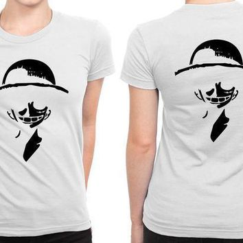 Luffy Strawhat One Piece Anime B 2 Sided Womens T Shirt