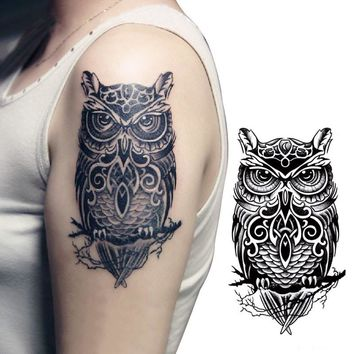 7 designs Waterproof Temporary Tattoo Sticker on armlarge owl tatto stickers flash tatoo fake tattoos for men women