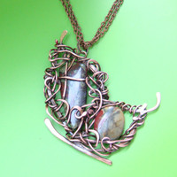 Copper Wire Wrapped pendant, butterfly, jasper. FREE SHIPPING