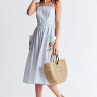 UO Elle Embroidered Pocket Striped Midi Dress | Urban Outfitters