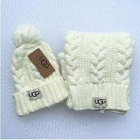 UGG winter trendy men and women knitted hats & scarves F White