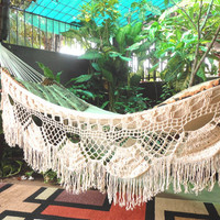 Beige Single Boho Style Hammock hand-woven Natural Cotton
