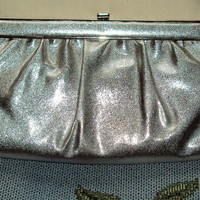 Silver Textured Vinyl Bag Hollywood Glam Clutch Mad Men Style Purse Vintage 1960's