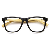 Eco-Friendly Genuine Bamboo Clear Lens Horn Rimmed Sunglasses