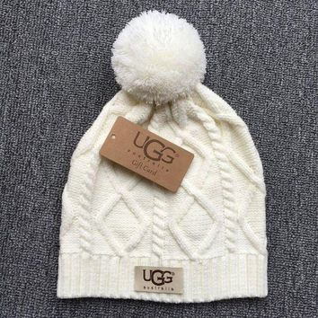 DCCK7XP UGG Autumn Winter New Knit Women Men Warm With Small Ball Cap Hat White