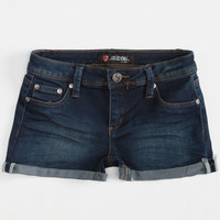 Scissor Roll Cuff Girls Jegging Shorts Dark Wash  In Sizes
