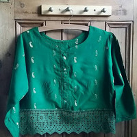 Womens clothing boho tops and tees indian blouse crochet clothes ethnic saree tops crop tops lace shirt hippie jade Dolly Topsy Etsy UK