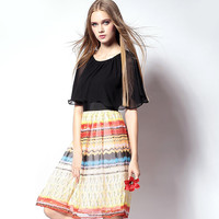 Black Zippered Printed Skirt Dress