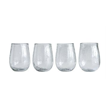 Recycled Textured Glass Stemless Wine Glass -- 14-oz