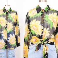 90s Sheer Sunflower Floral Grunge Blouse / Draped Chiffon Button Up Shirt S M