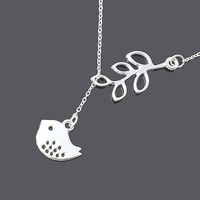 Only Today special - Pendant necklace - branch and bird Lariat Necklace-perfect bridesmaid gift