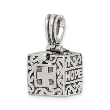 925 Sterling Silver Faith and Hope Prayer Box Shaped Pendant