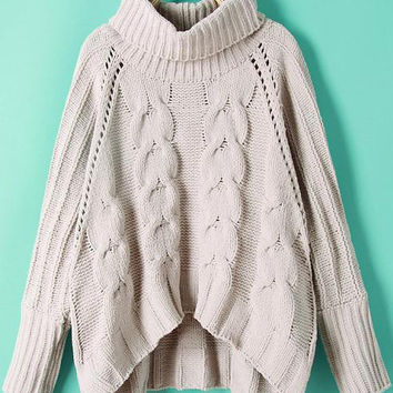 Grey Turtleneck Cable Knit Crop Sweater