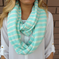 Mint & White Stripe Knit Infinity Scarf