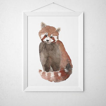 Cute red panda poster Nursery decor Watercolor art print ACW26