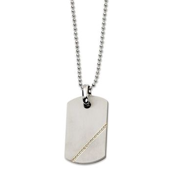 Titanium and 1/6ct. Diamond in 14k Gold Accent Dog Tag Necklace