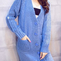 Casual V-Neck Long Sleeve Solid Color Maxi Cardigan