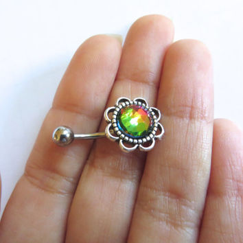 Faceted Rainbow Stone Flower Rose Daisy Belly Button Ring Navel Piercing Stud Bar Barbell Bellyring Azeetadesigns