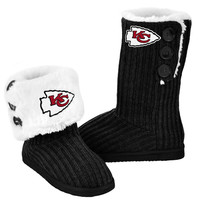 Kansas City Chiefs Official NFL Ladies Knit High End Button Boot Slippers